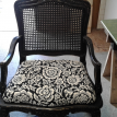 Black chair with replacement seat