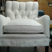 A bedroom style slipper chair