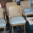 Cane back chairs with upholstered seats